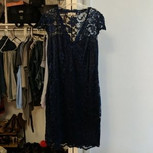Blue lace dress with blue lining